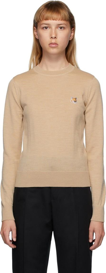 Maison Kitsune Beige Wool Fox Head Sweater