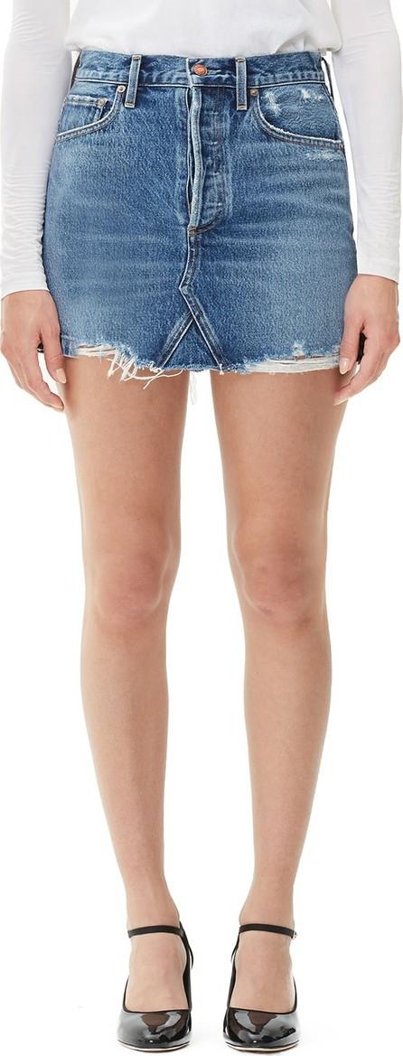 Agolde Quinn High-Rise Frayed Denim Skirt