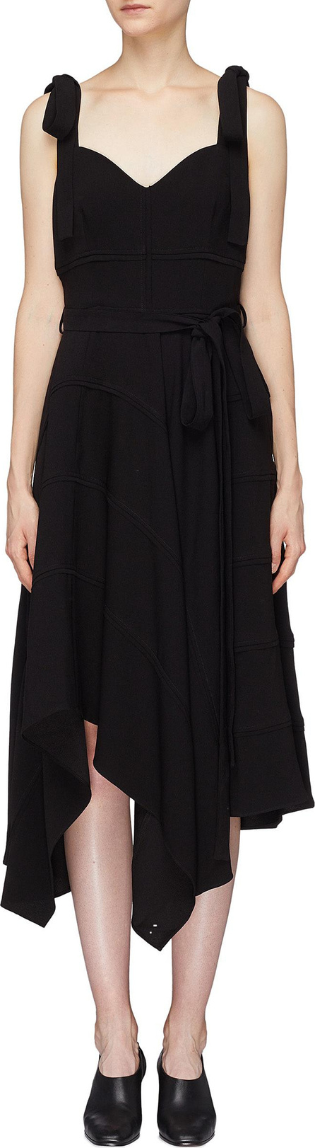 Proenza Schouler Tie strap asymmetric drape camisole dress