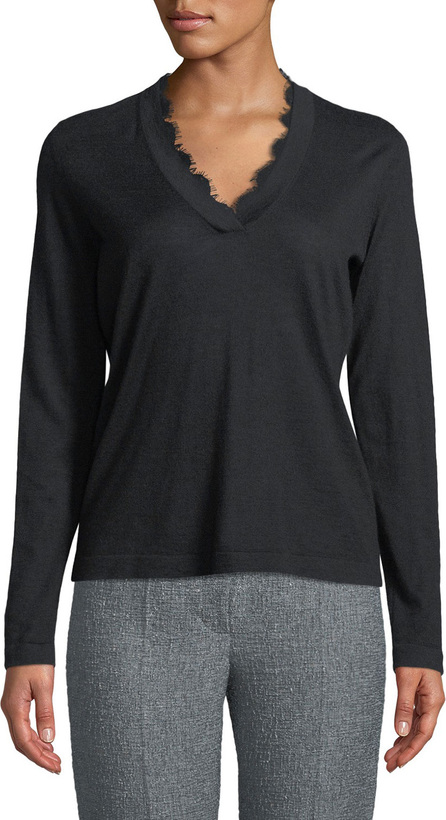 Emporio Armani V-Neck Long-Sleeve Cashmere Sweater w/ Lace Trim