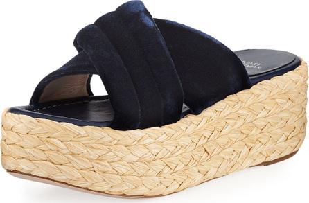 Stuart Weitzman Pufftopraffia Velvet Wedge Platform Sandal