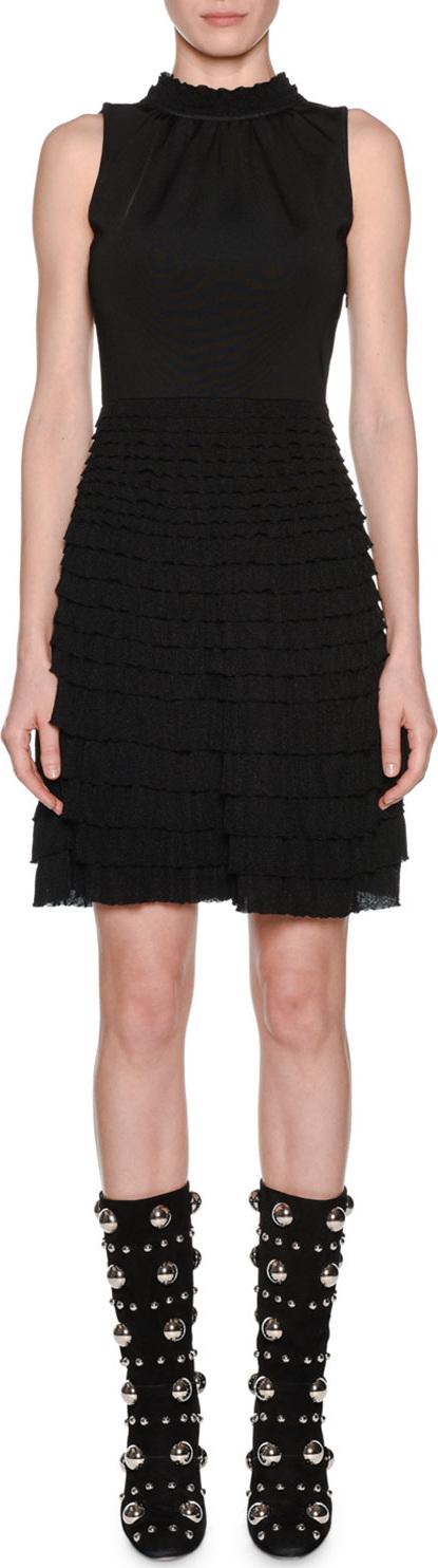 Giambattista Valli Sleeveless Knit Mock-Neck Tiered Ruffled A-Line Dress