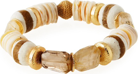 Akola Quartz Striped Glass Bead Bracelet