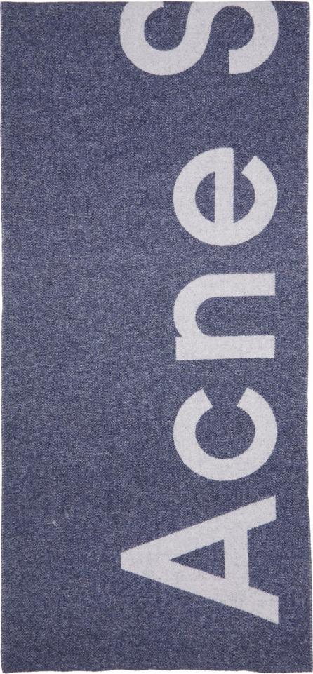 Acne Studios Blue Toronty Logo Scarf