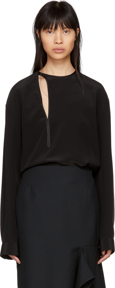 Haider Ackermann Black Silk Binding Detail Shirt