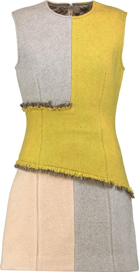 Acne Studios Ebele frayed paneled wool-blend mini dress