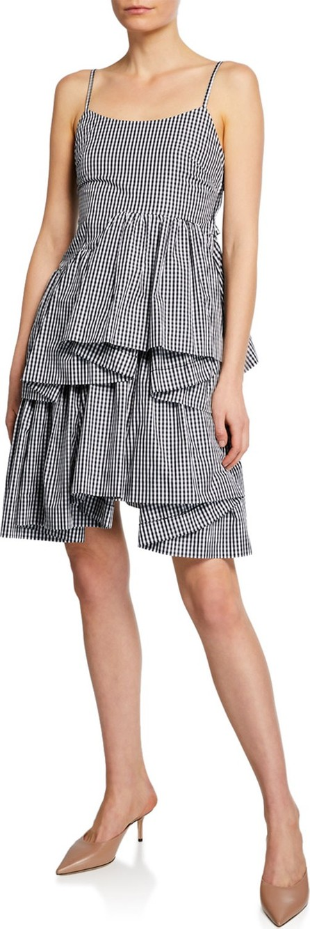 Anaïs Jourden Asymmetrical Gingham Ruffle Short Dress