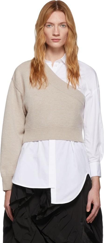 Enfold White & Beige Poplin & Knit Somelos Shirt