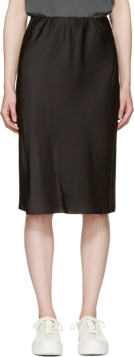6397 Black Silk Bias Cut Skirt