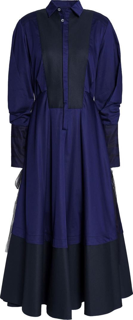 Amanda Wakeley Muse tulle-paneled cotton-poplin midi shirt dress