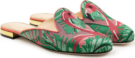 Charlotte Olympia Flamingo Loafer Slippers