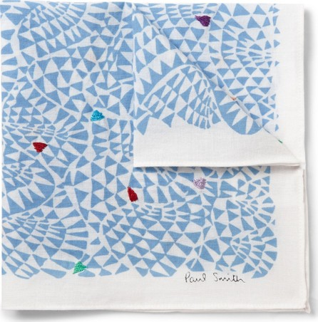 Paul Smith Embroidered Printed Cotton-Voile Pocket Square