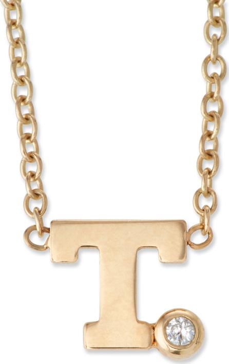 Zoe Chicco Pavé Initial Pendant Necklace with 0.01 Diamond