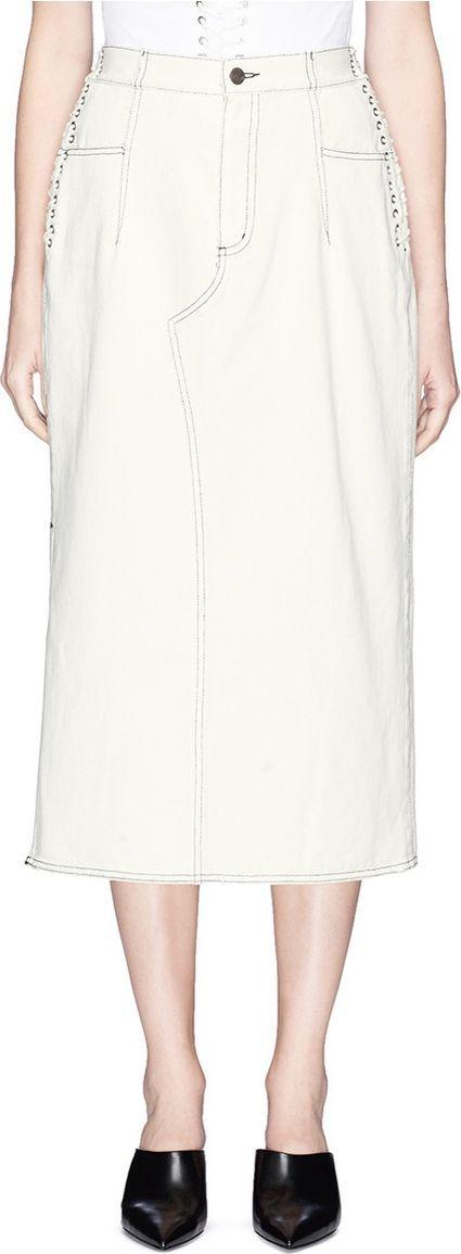 3.1 Phillip Lim Lace-up corset waist denim skirt