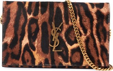 Saint Laurent Monogram YSL Leopard-Print Wallet On Chain