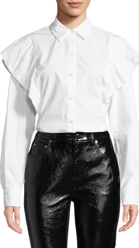 Derek Lam 10 Crosby Long-Sleeve Ruffle Shoulder Button-Front Top