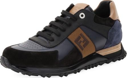 Fendi Men's FF Embroidered-Stripe Leather Runner Sneakers