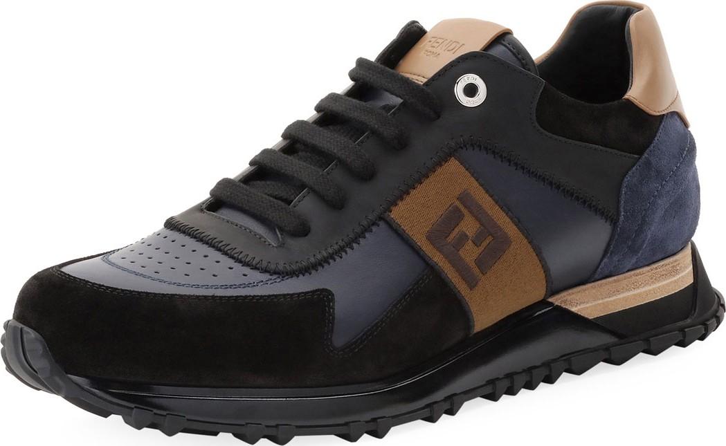 924ad386 Fendi Men's FF Embroidered-Stripe Leather Runner Sneakers - Mkt