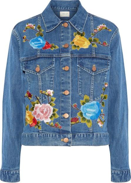 AO.LA by alice + olivia Chloe embroidered denim jacket