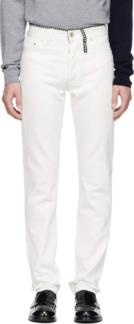 Band of Outsiders White Check Aspen Regular Fit Jeans