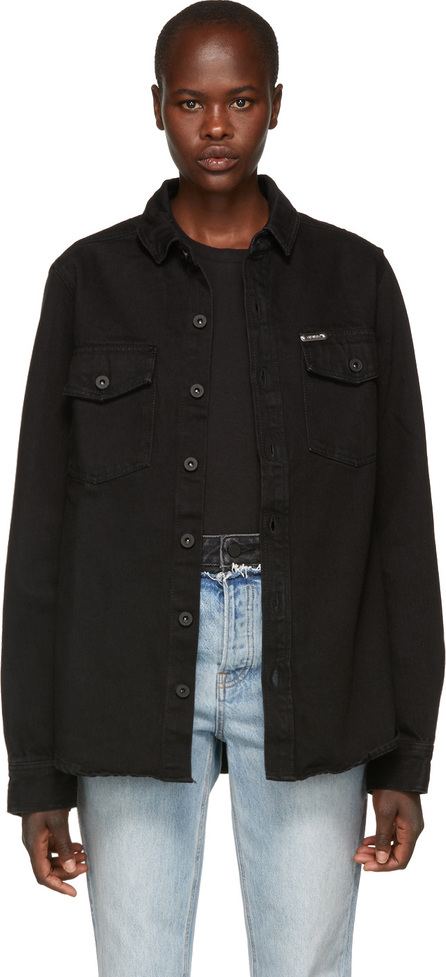 Off White Black Denim Gradient Shirt