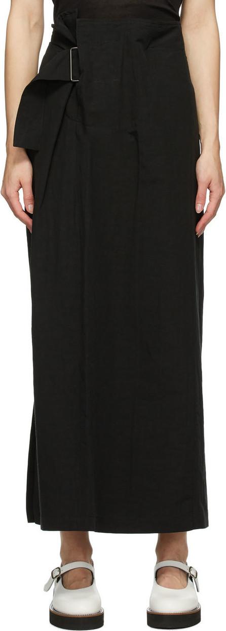 Y's By Yohji Yamamoto Black Linen & Cotton Asymmetric Long Skirt