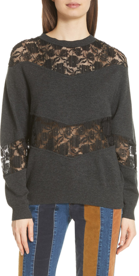 See By Chloé Lace Panel Wool Blend Sweatshirt