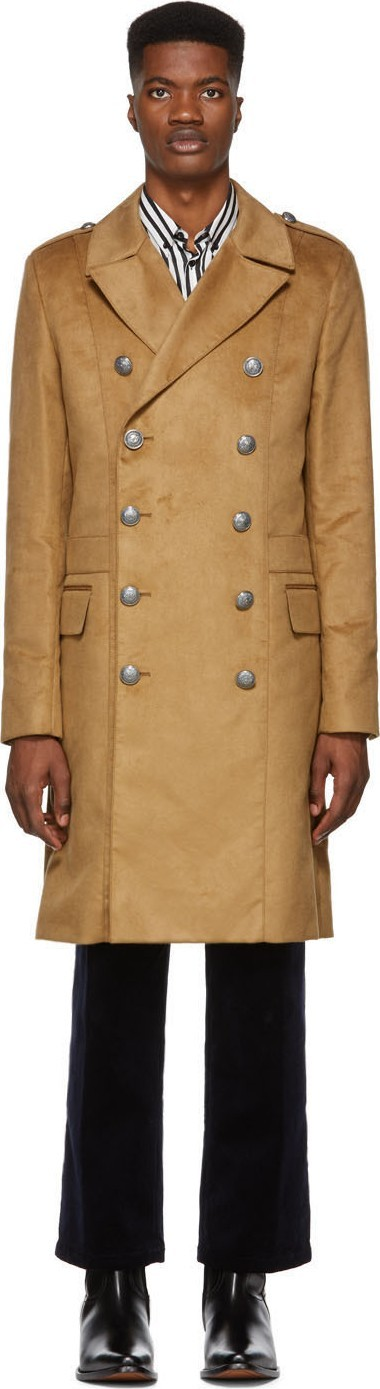 Balmain Tan Double-Breasted Coat