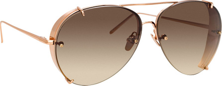 Linda Farrow Aviator Gradient Titanium Sunglasses