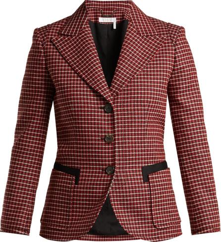 Chloe Houndstooth wool-blend blazer