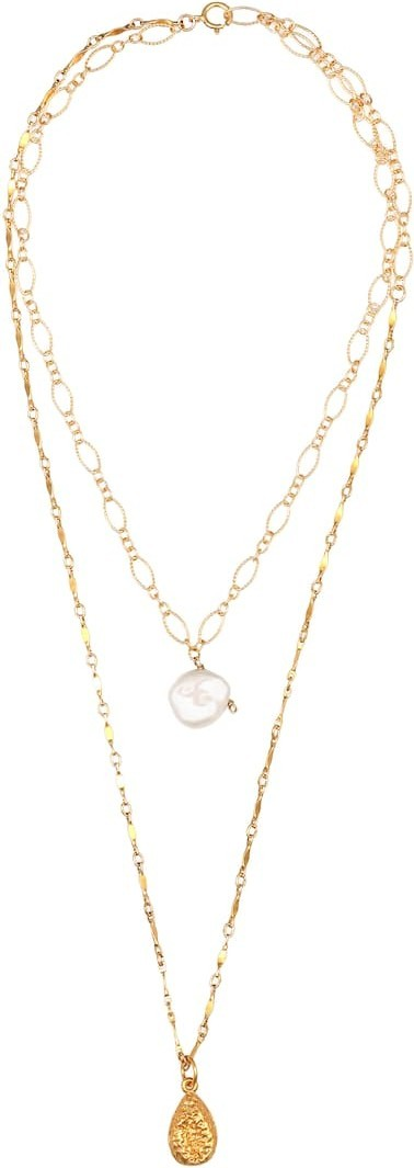Alighieri Exclusive to Mytheresa – Layers of the Sun 24kt gold-plated necklace with pearl