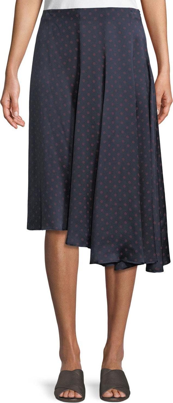 Vince - Dot-Print Foulard Asymmetric Pleated Silk Skirt