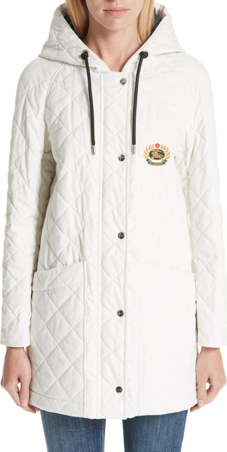 Burberry London England Roxwell Embroidered Archive Logo Quilted Coat