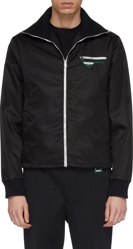 Prada Logo patch knit collar nylon jacket