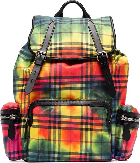 Burberry London England Check print leather trim backpack