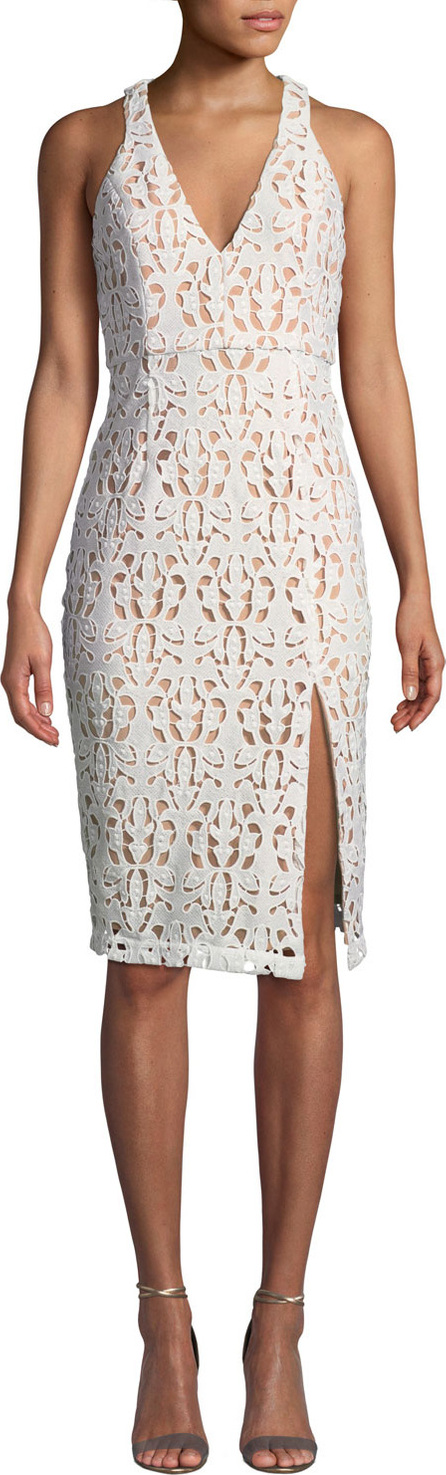 Aijek Love is Embroidered Sleeveless Pencil Dress
