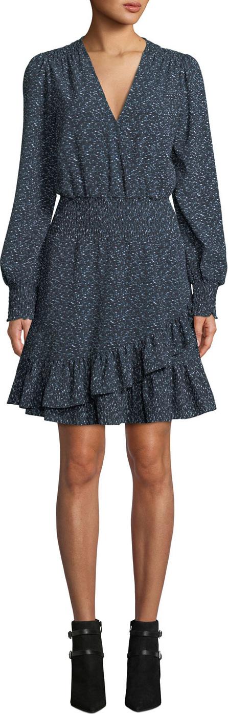 MICHAEL MICHAEL KORS Space Dyed Long-Sleeve Ruffle Dress