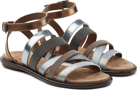 Brunello Cucinelli Multi Strap Embellished Leather Sandals