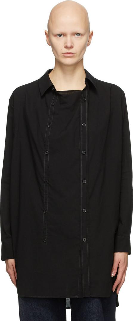 Y's By Yohji Yamamoto Black Drape O-Front Shirt