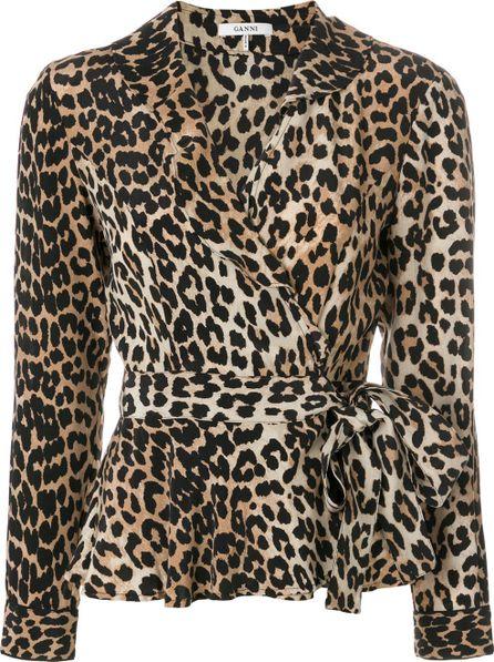 Ganni leopard print wrap top