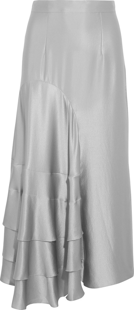 Roksanda Ruffled hammered silk-satin midi skirt