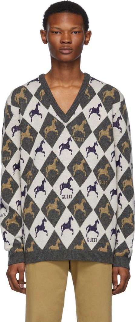 Gucci Beige & Grey Horse Jacquard Knit Sweater
