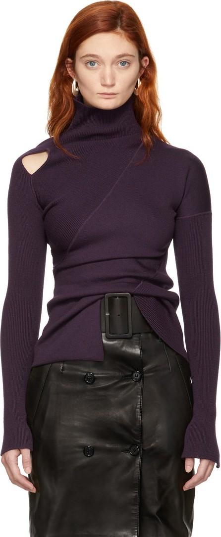 Yang Li Purple Knit Shoulder Exposure Turtleneck