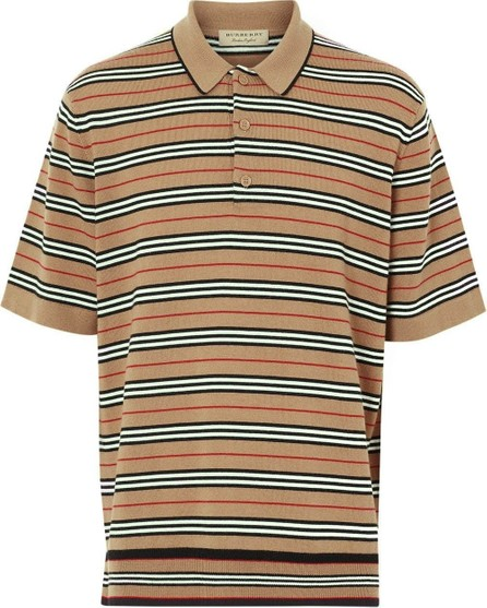 Burberry London England Camel Icon Stripe Polo Shirt