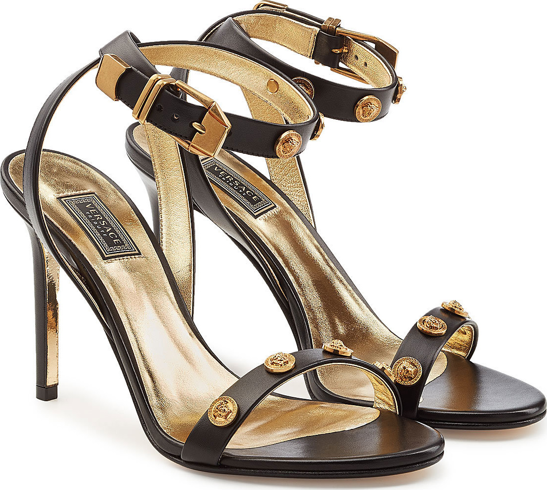 Versace - Embellished Leather Sandals