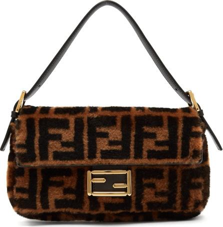 Fendi Baguette logo-print shearling shoulder bag