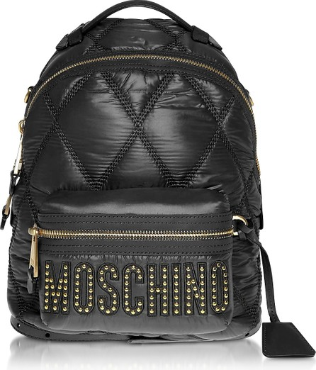 Moschino Black Quilted Nylon Signature Backpack w/Gold Studs