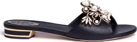 Rene Caovilla Strass pearl appliqué leather slide sandals