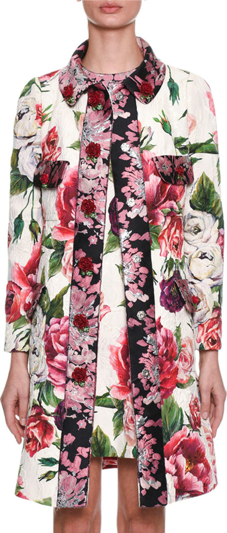 Dolce & Gabbana Long-Sleeve Rose Peony Jacquard Brocade Coat