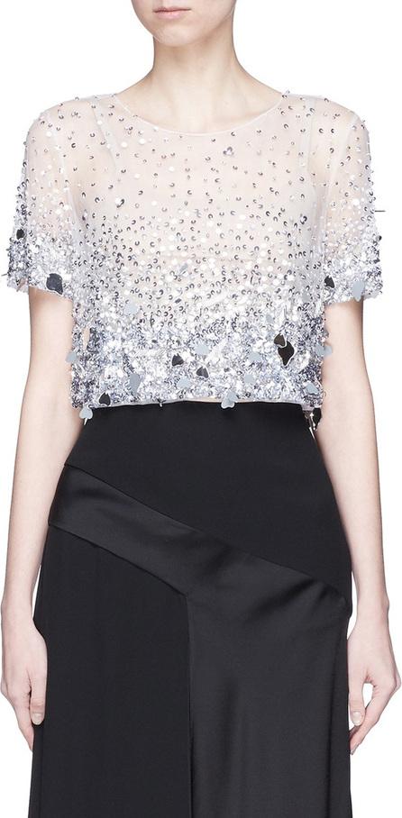 Oscar De La Renta Paillette cropped tulle blouse